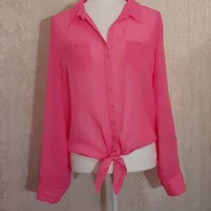 Pink top with waist tie